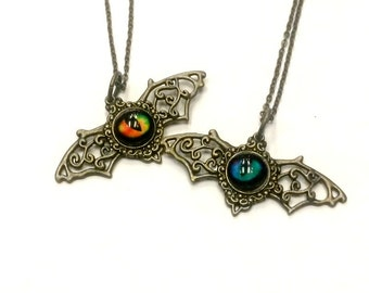 Batwing Eye Filigree Necklace Steampunk Bat Spooky Eye Handmade Gift