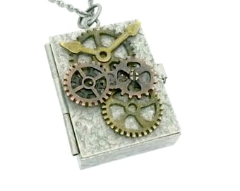 Gear Box Locket Steampunk Lucky Stash Box Necklace Handmade Gift