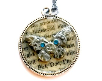 Steampunk Butterfly Necklace Handmade Gift