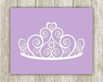 Princess Printable, 8x10, Instant Download, Lavender White Tiara Princess Art Print, Girls Nursery Decor, Purple Princess Wall Art, Crown