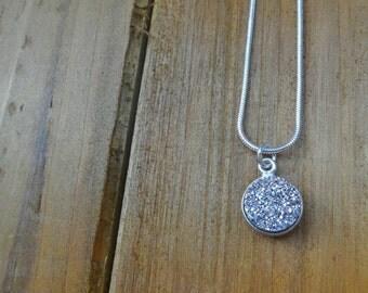 Bright Silver Druzy Necklace, Faux Druzy Pendant Necklace, Silver Necklace, Silver Stone Necklace, Silver Gemstone Necklace, Charm Necklace
