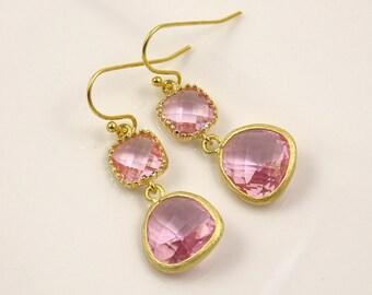 Gold Pink Earrings Dangle Earrings Pink Wedding Earrings Bridesmaid Jewelry Maid of Honor Gift Spring Wedding Idea Bridesmaid Gift