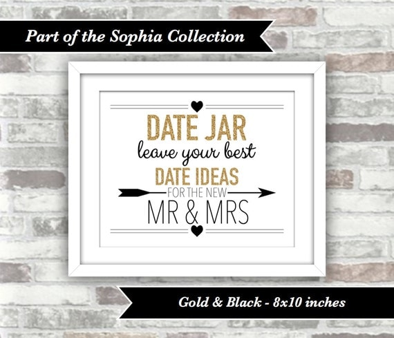 INSTANT DOWNLOAD - Sophia Collection - Printable Wedding Date Jar Sign - 8x10 Digital Files - New Mr and Mrs - Gold Glitter Effect and Black