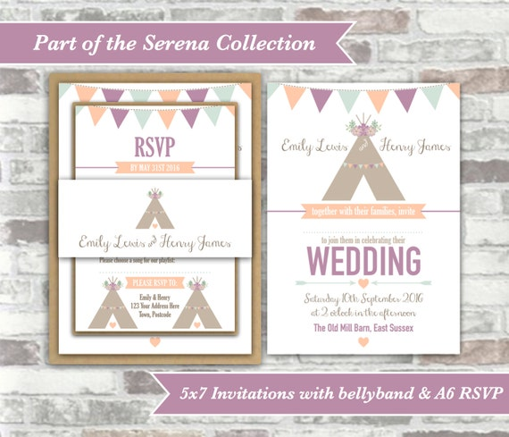 PRINTABLE Digital Files - Serena Collection - Personalised Tipi Wedding Invitation Bundle Print Your Own DIY - Peach Purple Lavender Lilac