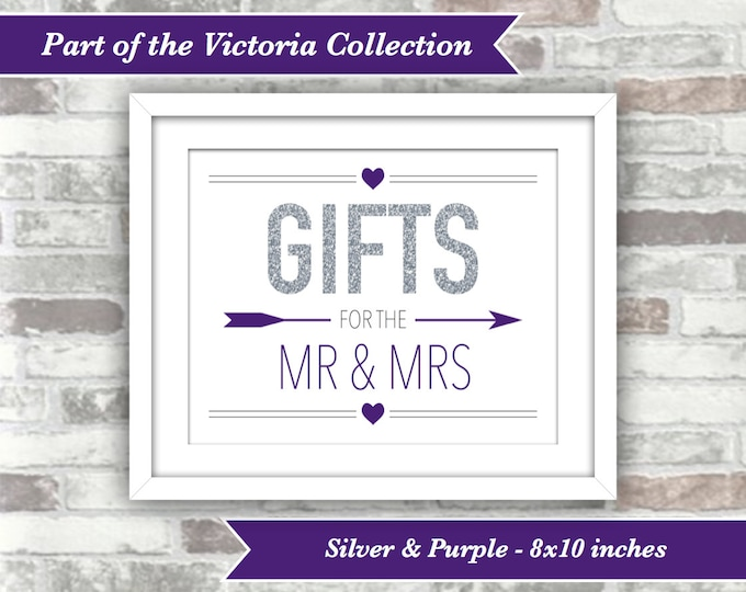 INSTANT DOWNLOAD - Victoria Collection - Wedding Gifts for the Mr and Mrs Sign - 8x10 Printable Digital File - Silver Glitter Effect Purple