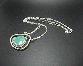 Amazonite Sterling Silver Bezel Set Necklace SCAD Grad