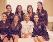 Beautiful Triple Monogram Personalized Embroidered Bride and Bridesmaid Robes for Gifts and to Get Ready In