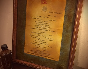 First Class Dinner Menu from the Titanic