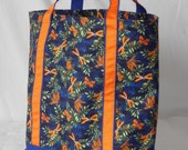 Large zippered tote bag, fully lined, Orange dragonflies, dragonfly