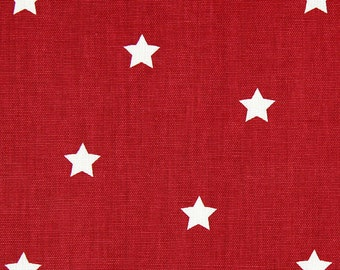 "NEW! 0.5 yard Oilcloth - Laminated Cotton tablecloth 52"" stars in red"