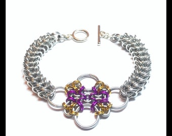 Japanese Flower Byzantine Chainmaille Bracelet - Purple and Gold