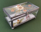 Vintage Pressed Wild Flowers Glass Jewelry Trinket Box
