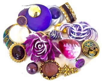Purple Jewelry Findings/14 Piece Passionate Purple Jewelry Components for Repurposing