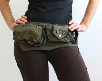 Utility belt  - Pockets - Belt Bag - Festival Bag - funny pack - waist bag  - Cotton - Pouch
