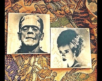 Frankenstein & His Bride Pair of 2 Coasters - Vintage, Horror, Bride of Frankenstein, Drink Coasters, Gift Ideas