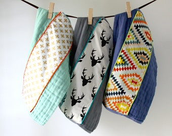 Baby Burp Cloth Gift Set of 3, Buckhead and Colorful Kilim
