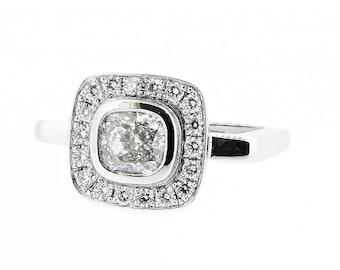 SQUARE ENGAGEMENT RING- Platinum Halo enagement ring-1 carat cushion cut Diamond halo engagement ring-Halo diamond engagement ring