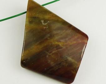 Twisted Autumn Jasper Pendant Bead - 43x32x7mm