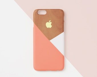 iPhone 5s case - Peach  layered wood pattern -  iPhone 7 case, iPhone 6s case, non-glossy L15.