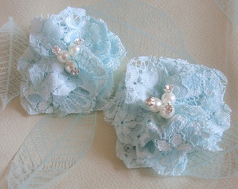 2 Lace Flowers With Rhinestone Pearl (2-3/4 inches) In Lt blue  MY-424-05 Ready To Ship