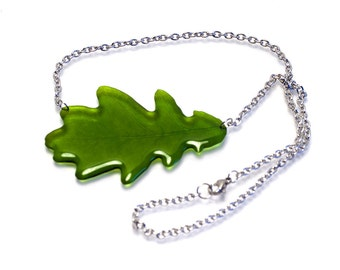 British Oak leaf necklace on Stainless steel. Unique and see through, comes in gift box.