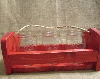 Mason Jar Caddy  Mason Jar Carrier Wooden Mason Jar Crate