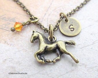 Horse Charm Necklace, Personalized Initial Birthstone Antique Brass Horse Charm Necklace