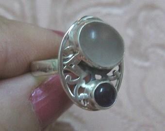 Rose Quartz Sterling Silver Ring Size 6 1/2