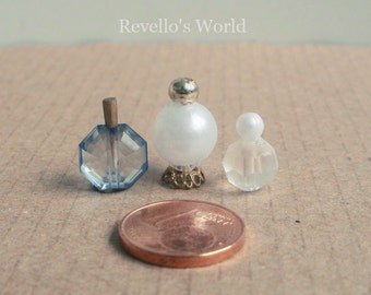 3 perfume bottles, perfume flask crystal, dollhouse miniature 1/12