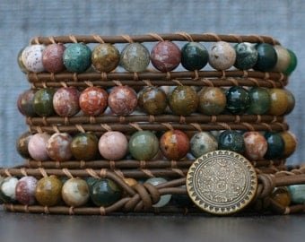 western jewelry - bohemian jewelry - jasper wrap bracelet- ocean jasper on chocolate brown leather - earthtones