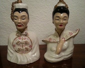 Ceramic Asian Man and Woman Figurines
