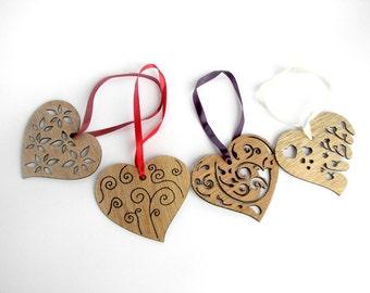 Christmas ornament, Wooden hearts, Wedding decors, Xmas tree decors, Wedding favor, Home decorations, set of 4