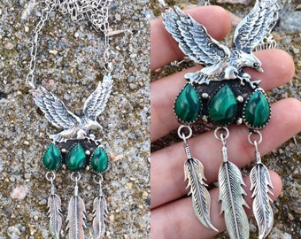 vintage 1970s Native American Navajo sterling silver malachite eagle feather lariat southwestern necklace