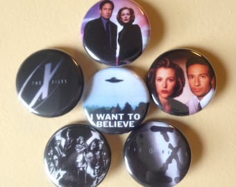 "X Files pin back buttons 1.25"" set of 6"
