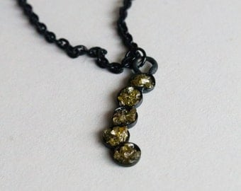Yellow Diamond necklace Black necklace oxidized necklace handmade necklace April birthstone necklace gift for her