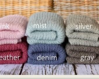 Newborn knit alpaca wrap brushed alpaca & silk newborn photo prop