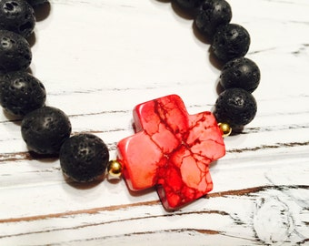 Imperial Red Jasper Cross Healing Lava Rock Bracelet - Gift Ideas