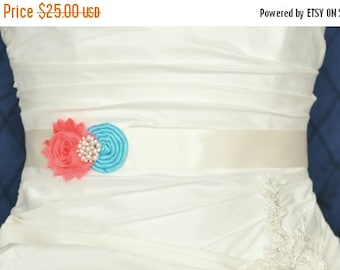 SALE Wedding Belt, Wedding Sash, Bridal Belt, Bridal Sash, Wedding Dress Belt, Dress Sash, Bridesmaid Belt, Shabby Chiffon Rosette, Custom C