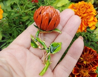 Enamel Orange Flower Bud Pin, Chrysanthemum Flower Pin, Pom Pom Flower Pin, 1960s 60s Brooch Pin,  Large Flower Brooch, Orange Floral Pin