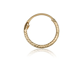 14k solid yellow gold hoop earring with shine diamond engraving, helix piercing solid yellow gold