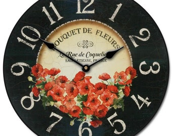 Bouquet de Fleurs Poppies Wall Clock