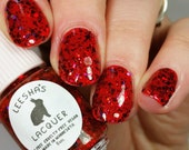 Red Jelly Nail Polish, Glitter Nail Polish - Solar Flare - Jelly's from Outer Space Collection