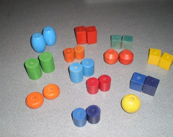 Assorted Twenty Five Colored Wooden Geometric Blocks/Cylinders