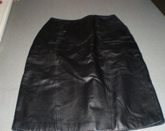Genuine Black Leather Skirt made in Korea Size 10