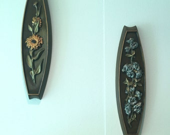 Pair of Mid Century Floral Chalkware ceramic wall hangings   Wall pockets  Wall Plaques