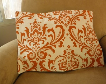 Traditional Print Beige and Coral Pillow Cover 14x20