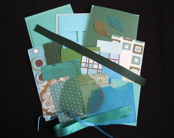 Teal Trio -luxury 3 blank cards kit -OOAK ready to ship