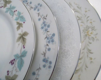 Vintage Mismatched China Salad Plates for Weddings,Tea Parties,Bridal Luncheons,Showers,Hostess Gift,Bridesmaid Gift - Set of 4