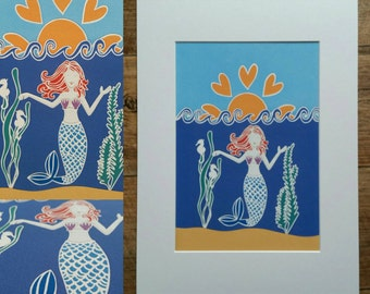 Mermaid a4 print mounted