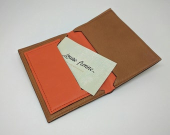 Camel leather ID card holder and orange